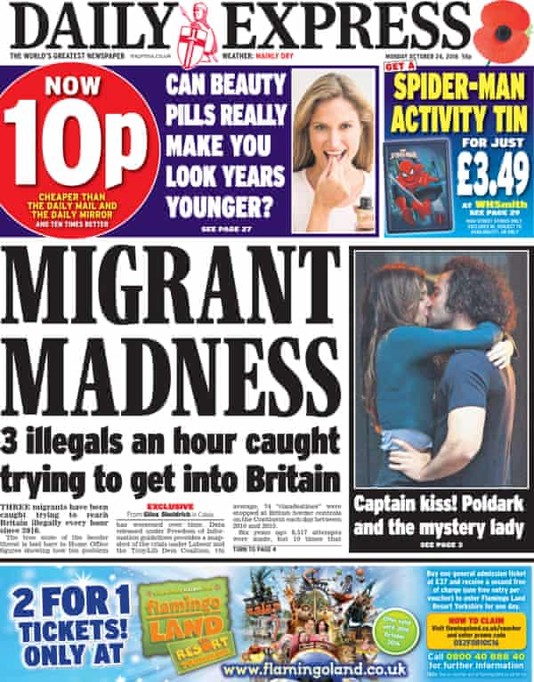The Daily Express has run a steam of anti-migrant front pages.