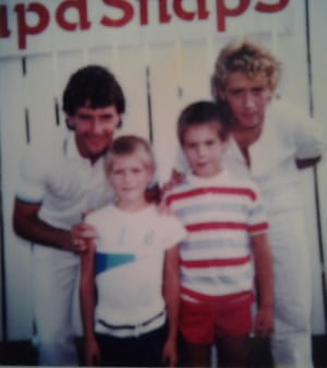 Mark and his brother with West Ham legends Ray Stewart (left) and Frank McAvennie (right)