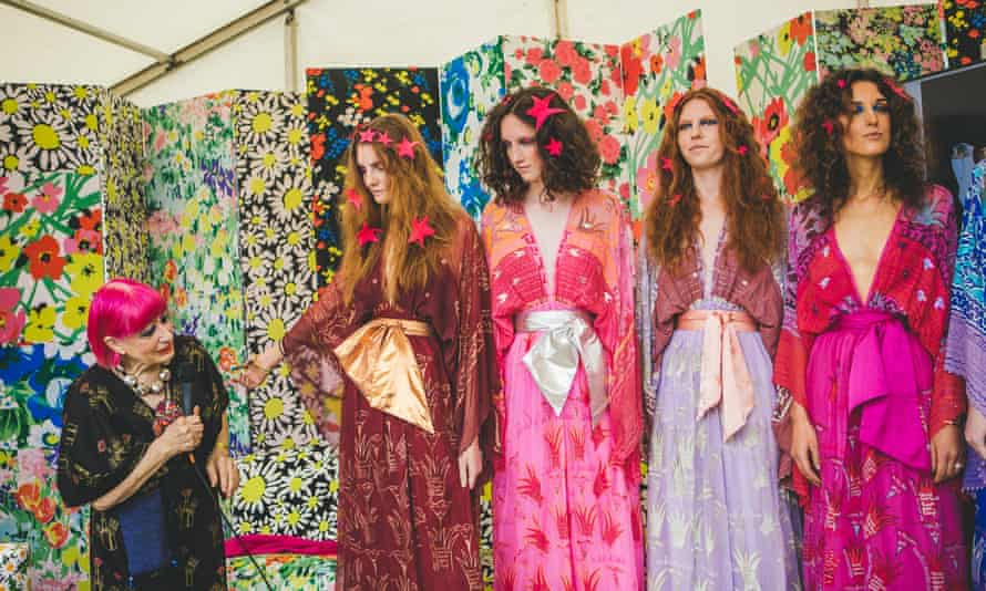 Zandra Rhodes with models wearing her designs at Port Eliot festival in 2017.