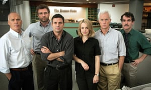Michael Keaton, Liev Schreiber, Mark Ruffalo, Rachel McAdams, John Slattery and Brian D'Arcy in the film Spotlight, which deals with the Catholic church child abuse scandal in Boston that cost Bernard Law his job as archbishop.