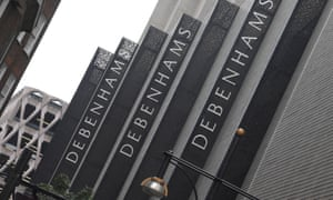 Debenham's signs are seen in central London,