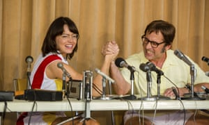 Emma Stone and Steve Carell as Billie Jean King and Bobby Riggs in Battle of the Sexes.