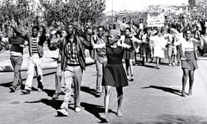 High-school students march in Soweto, South Africa, June 1976