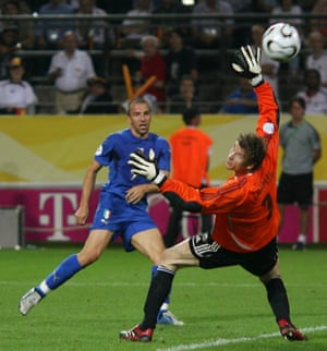Alessandro Del Piero curls the ball past Jens Lehmann to double Italy's lead ...