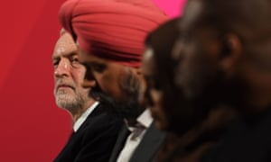 Jeremy Corbyn (left) next to Tan Dhesi, Labour candidate for Slough, at the launch of the Labour race and faith manifesto at the Bernie Grant Arts Centre