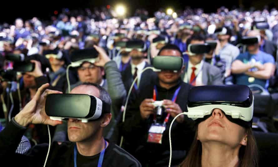 People wearing Samsung Gear virtual reality devices at the Mobile World Congress in Barcelona