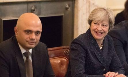 Home secretary Sajid Javid and prime minister Theresa May.