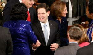 US senator Marco Rubio is greeted by colleagues.
