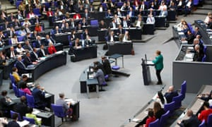 Angela Merkel addresses the Bundestag in Berlin