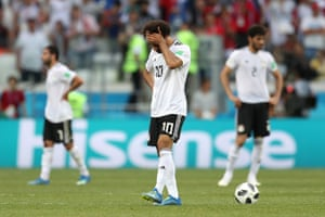 Mohamed Salah walks off after a disappointing campaign for Egypt.