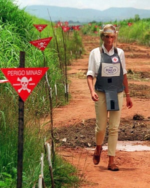 Diana, Princess of Wales, tours a minefield during her visit to Angola in January 1997.