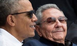 US president Barack Obama and his Cuban counterpart Raúl Castro enjoy an exhibition baseball game in Havana.
