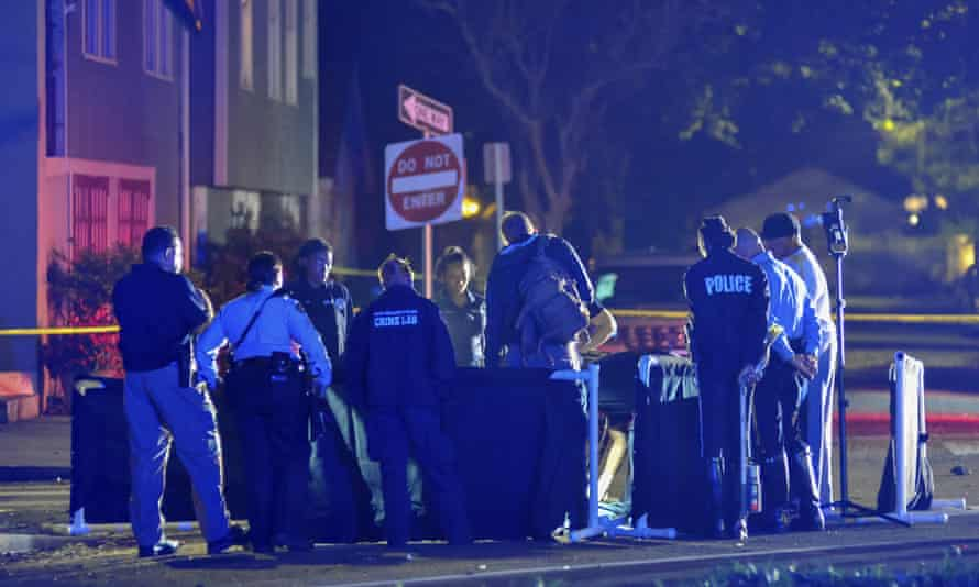 New Orlean police at the scene of the incident on Esplanade Avenue on Saturday.