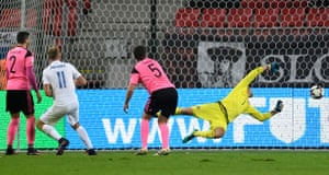 Slovakia's Adam Nemec scores their third goal.