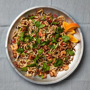 Star turn: Yotam Ottolenghi's udon noodles with prawns and orange nam jim.