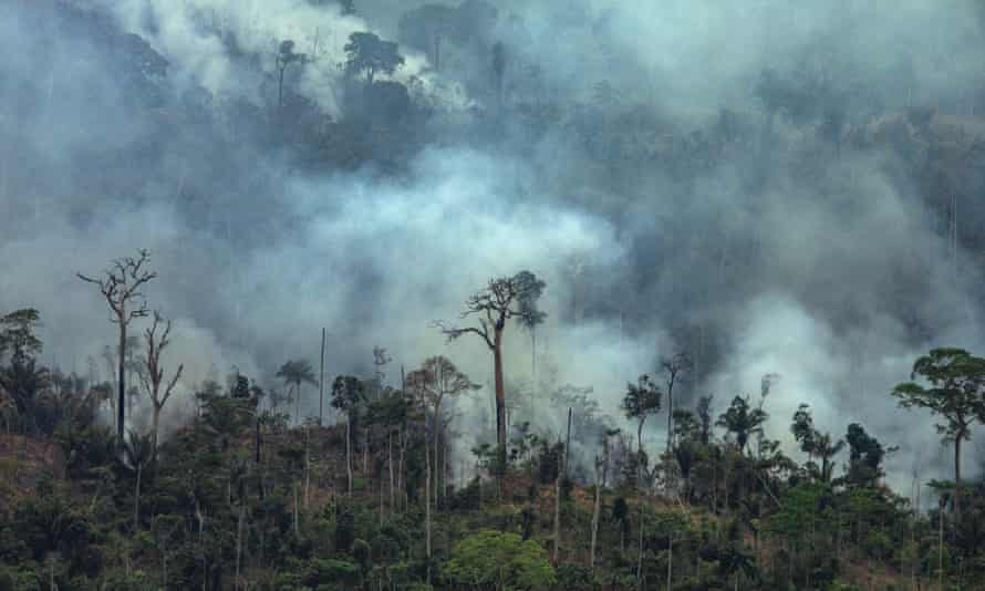 Smoke billowing from fires in the forest in the Amazon in Itaituba, Para state, Brazil