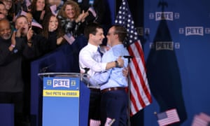 Pete Buttigieg, left, and his husband Chasten at a rally to announce Buttigieg's 2020 presidential candidacy.