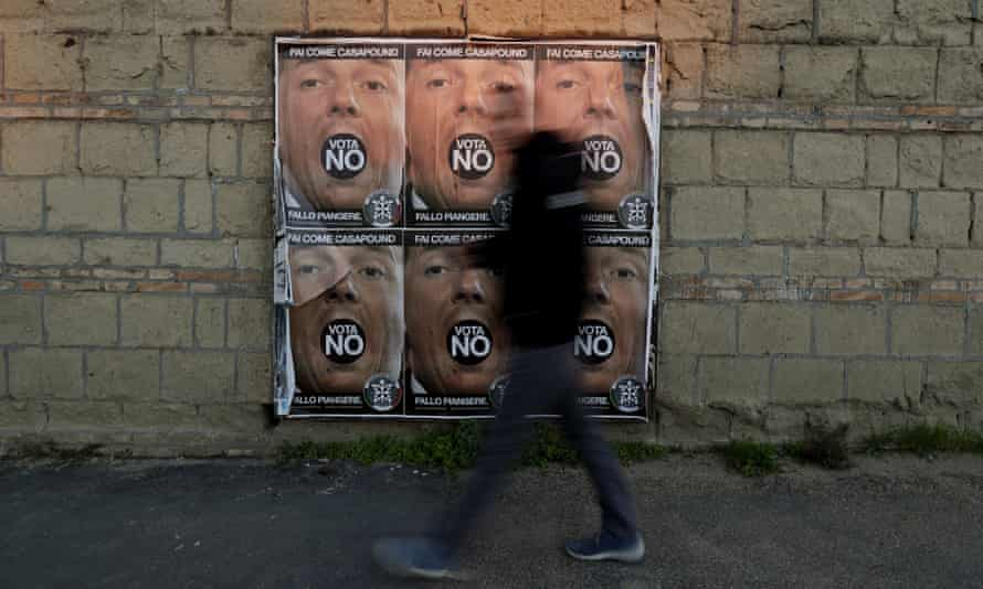 Posters of Italian prime minister Matteo Renzi, as the country approaches a constitutional referendum. Renzi's government has routinely been targeted with false online propaganda.
