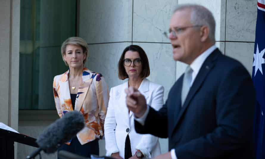 Australian prime minister Scott Morrison at a press conference with senators Michaelia Cash and Anne Ruston