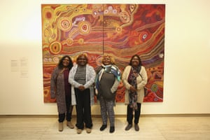 The Ken Family Collaborative pose with their work Seven Sisters, which won the 2016 Wynne prize