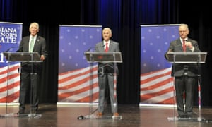 Governor John Bel Edwards, right, debates with his Republican challengers Ralph Abraham, left, and Eddie Rispone, center, in Lafayette last month.