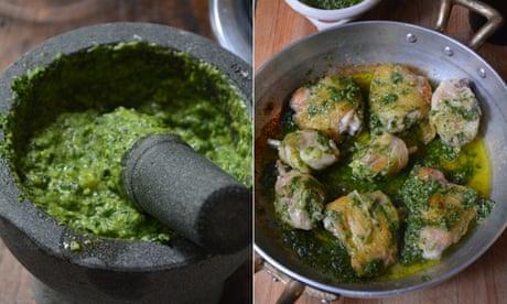 Rachel Roddy's recipe for braised chicken with pesto