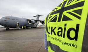 A Royal Air Force plane delivering vital UK aid arrives in Kathmandu, Nepal
