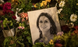 Flowers and tributes for the late Maltese journalist Daphne Caruana Galizia