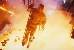 Arnold Schwarzenegger finds a hot spot in Terminator 2: Judgment Day, 1991.