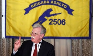 The US national security adviser, John Bolton, addresses the Bay of Pigs Veterans Association in Coral Gables, Florida, on the 58th anniversary of the United States' failed 1961 invasion of the island on Wednesday.