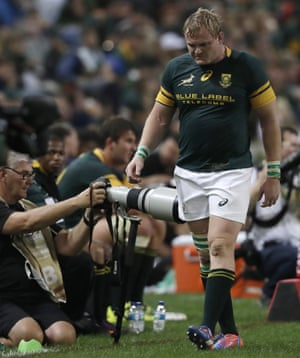 South Africa's captain Adriaan Strauss walks on the touchline after being substituted during the South Africa's heavy defeat to New Zealand