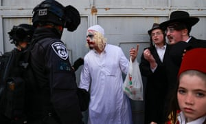 There were scuffles between Israeli police and Purim celebrants in Jerusalem.