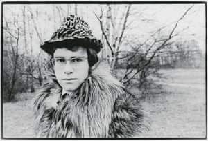 "This is the outfit Elton wore for a photoshoot for the release of his first single in the 60s. He'd started being influenced in his dress by his friend Tony King, a very flamboyant music industry figure. In the book, he says: ""I wore a fake fur coat and a mock-leopardskin trilby hat. For some reason, the sight of me clad in this striking ensemble failed to galvanise record buyers into the shops""."