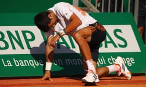 Novak Djokovic takes a tumble during his defeat to David Goffin in Monte Carlo in April