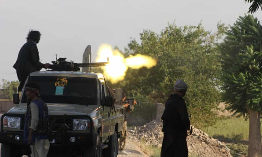 Afghan security forces exchange fire with Taliban militants in Shiberghan city, Jawzjan province