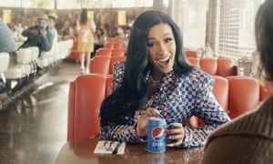 A screen grab provided by PepsiCo shows an image from the company's 2019 Super Bowl ad featuring Cardi B.