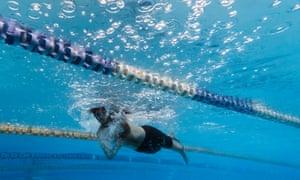 A swimmer at Annette Kellerman Aquatic Center in Marrickville on October 11, 2021 in Sydney.