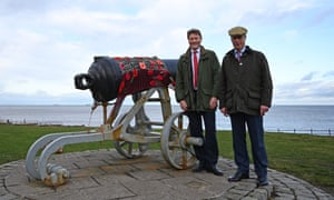 Nigel Farage, the Brexit party leader, and Richard Tice, the party's chairman and candidate for Hartlepool, at the Headland War memorial in the town.