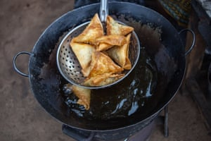 Vegetables samosas are sold in Kibera thoughout the day, serving as a quick snack taken with tea
