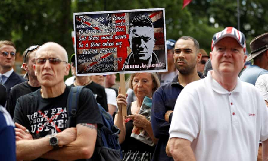 Supporters of Tommy Robinson outside the Houses of Parliament