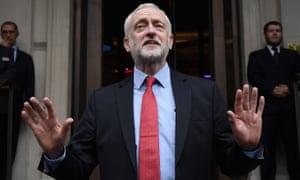Jeremy Corbyn speaks to the media