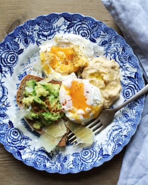 Poached eggs and avovado on toast