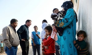 David Cameron visiting Syrian refugee families.