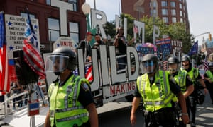 Police protect the straight pride parade in Boston.