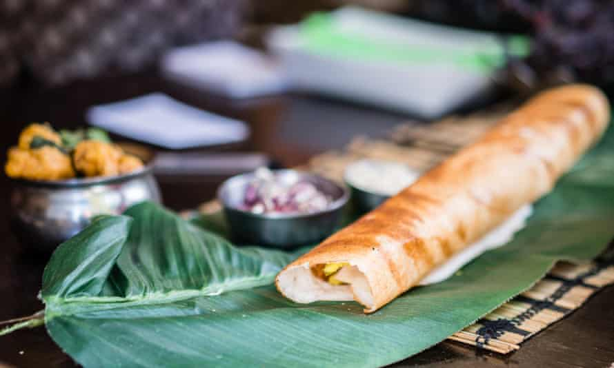 Freshly made Dosa served at a restaurant in Melbourne