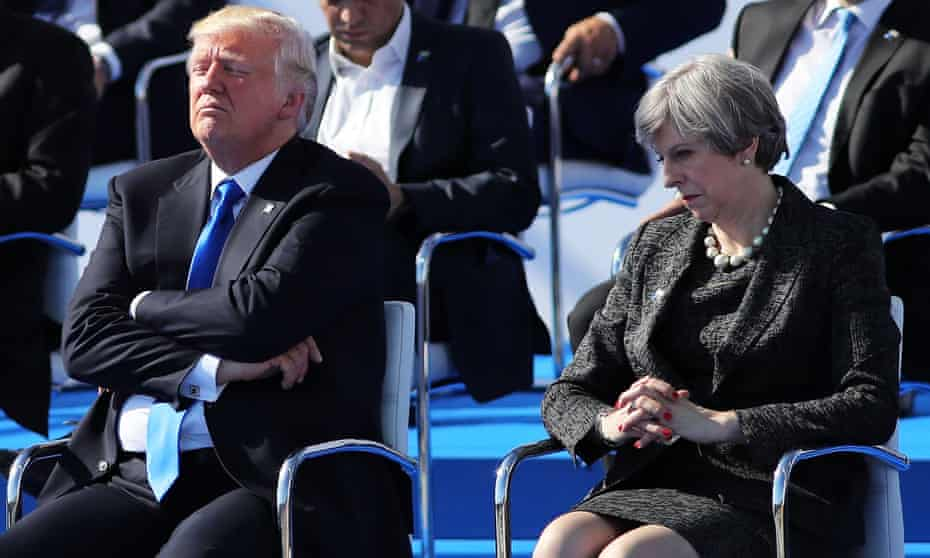 Donald Trump and Theresa May pictured in Brussels ahead of a Nato summit meeting in May last year.
