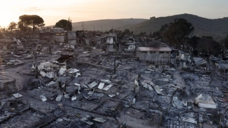 An aerial photo shows the Moria refugee camp after it was burnt down earlier this month