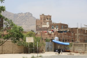 A Saudi-led coalition launched an aerial campaign in to stop the advance of Houthi rebels allied with Iran. Here, Nuqum Mountain, scene of much recent shelling, rises above a school hosting displaced people in Sana'a. June 17 2015
