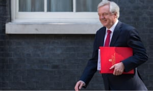 Brexit secretary David Davis heads to a cabinet meeting at 10 Downing Street.