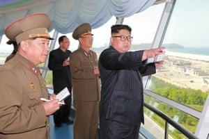 Kim inspects the construction site of the Wonsan-Kalma coastal tourist area.